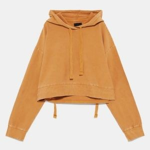ZARA Washed Tan Hoodie W/ Adjustable Strap Small